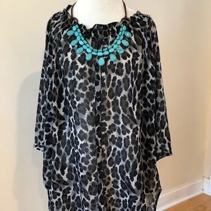 [DKNY] leopard print flowy top with lace detail.